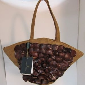 Paolo Masi Brown Leather and Linen Shoulder Bag